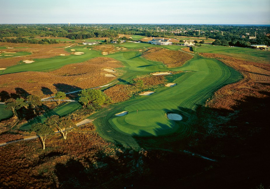 Aerial shot of Shinnecock Hills Golf Course in New York