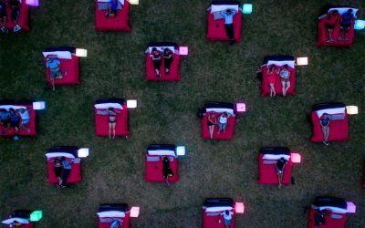 mov'in bed cinema in parramatta park drone shot of beds