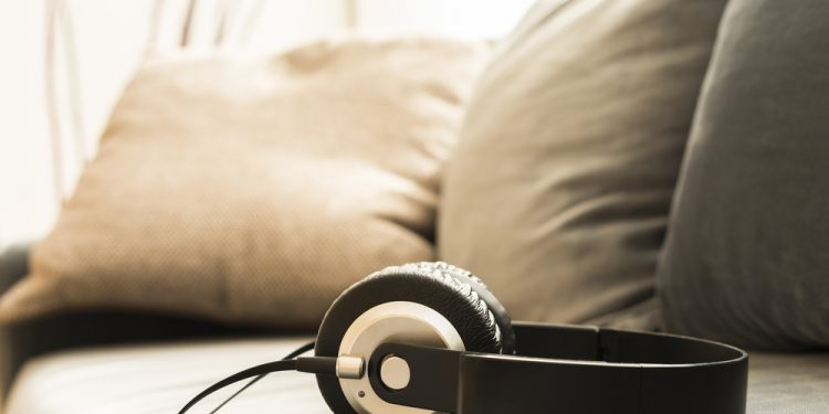 Headphones on a couch
