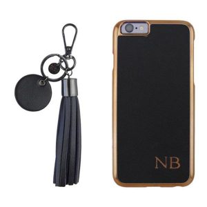 black tassel key ring and black monogram iphone case