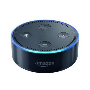 black amazon echo dot with blue light on rim