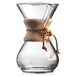 clear glass coffee maker with wooden handle