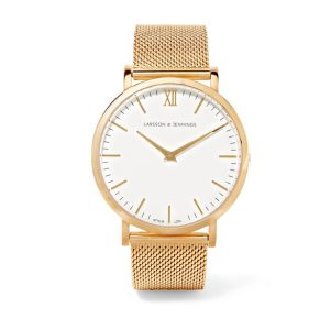 gold watch with white face