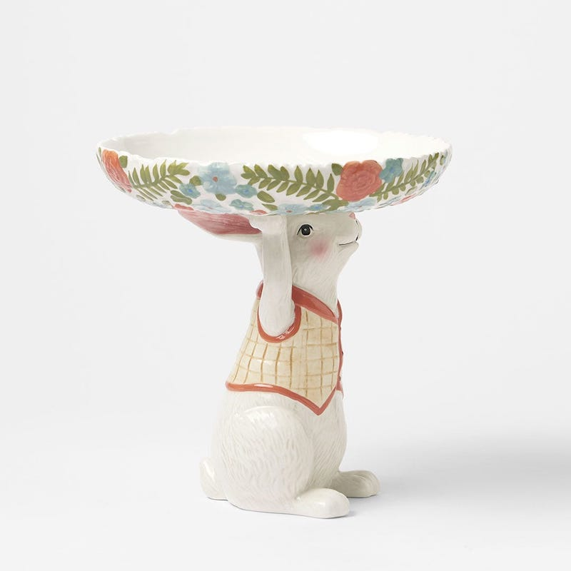 Morgan and Finch Rabbit Holding Floral Dish. Image via Bed Bath and Table website.