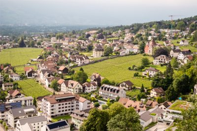 ariel shot of vaduz, liechtenstein.