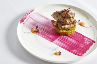 Murgh malai dish at Atta - Boneless creamy chicken, beetroot & chilli chutney