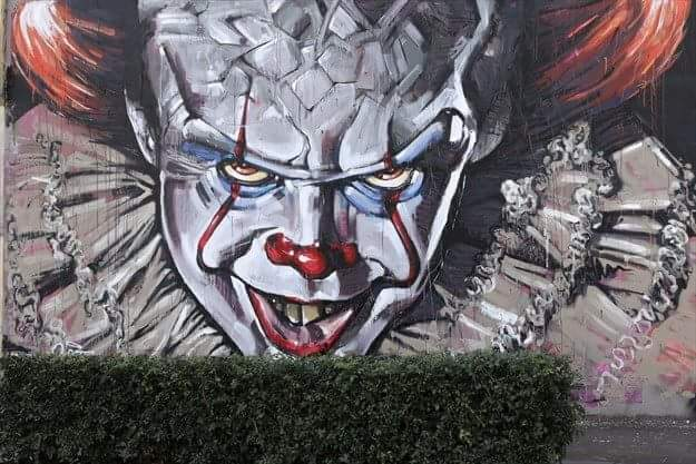 Mural of Pennywise the clown from IT movie