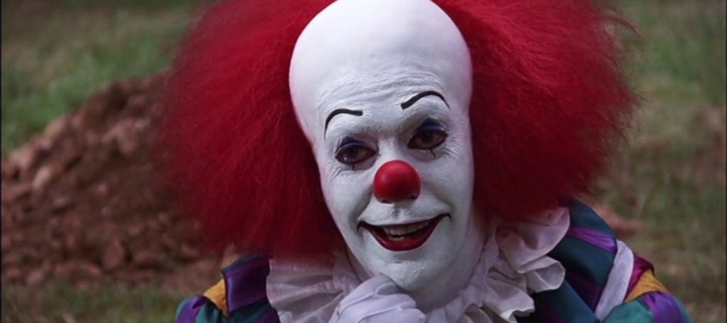 Tim Curry playing Pennywise the Dancing Clown in the 1990