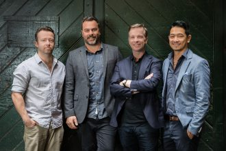 The four chaps overlooking the new tavern, from left to right: Steve McDermott, Julian Train, Mikey Enright, David Nguyen Luu. Image: Supplied