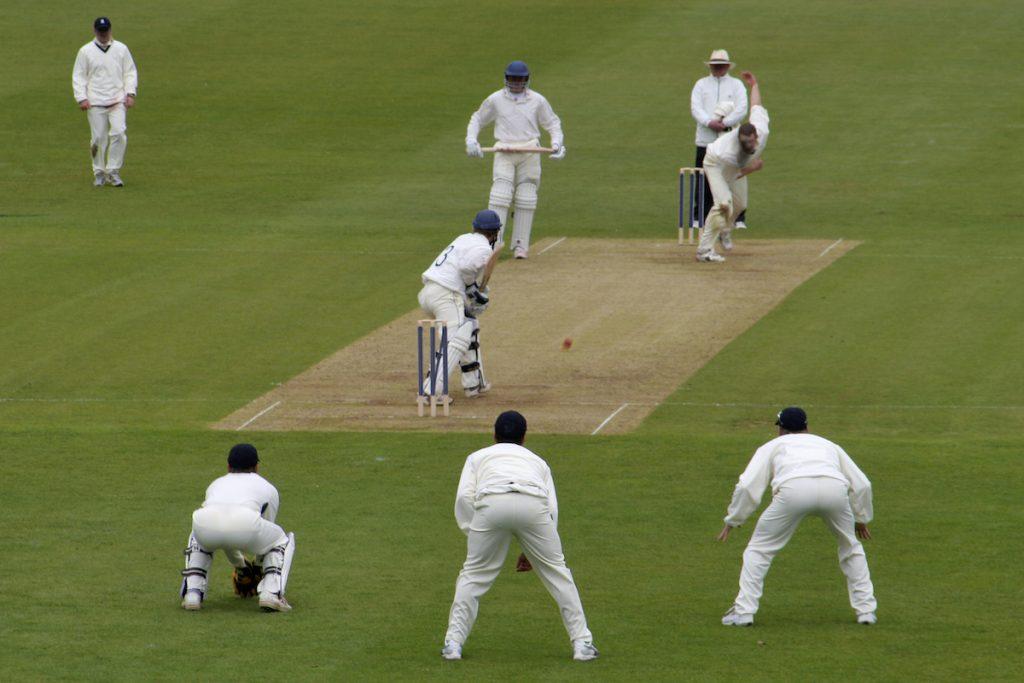 Cricket fielders in position. Image by Lance Bellers via Shutterstock.