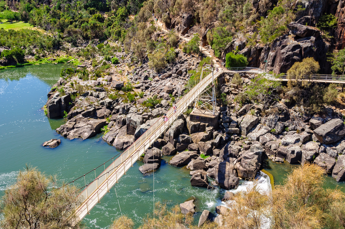 Alexandra Suspension Bridge Cataract Gorge, Launceston Tasmania. Photographed by lkonya. Image via Shutterstock