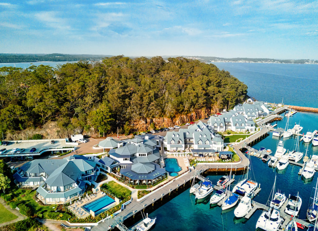 Views of the Anchorage Marina at Port Stephens. Image by Leah-Anne Thompson via Shutterstock.