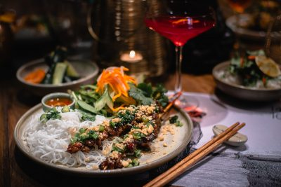 14 North 108 East Lunch Bowl - Vermicelli, Lemongrass Pork, Lime and Chilli Sauce. Image: Supplied