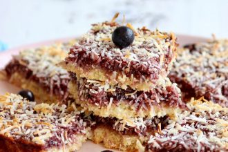 Blueberry and Coconut Slice. Photographed by Maddie Bingham. Image supplied