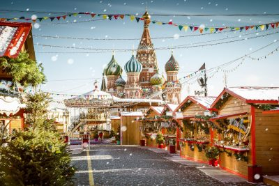 Christmas village fair on Red Square in Moscow, Russia. Image: mikolajn / Shutterstock