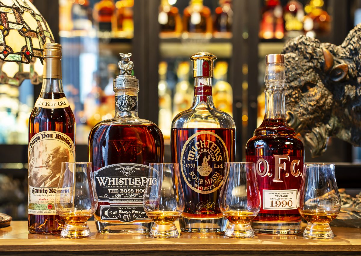 NOLA Smokehouse and Bar The Old and Rare Flight $850 (Pappy Van Winkle's, WhistlePig, Michter's, O.F.C.). Image supplied