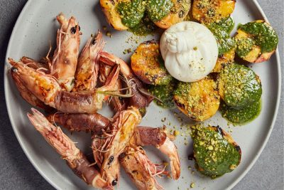 Sean Connolly's BBQ Saltimbocca King Prawns Recipe. Image supplied