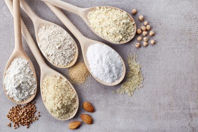 Gluten-free flour alternatives. Image purchased.
