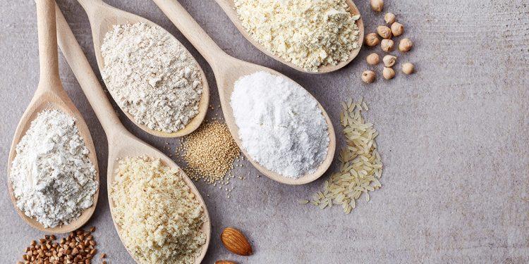 Gluten-free flour alternatives. Image purchased.
