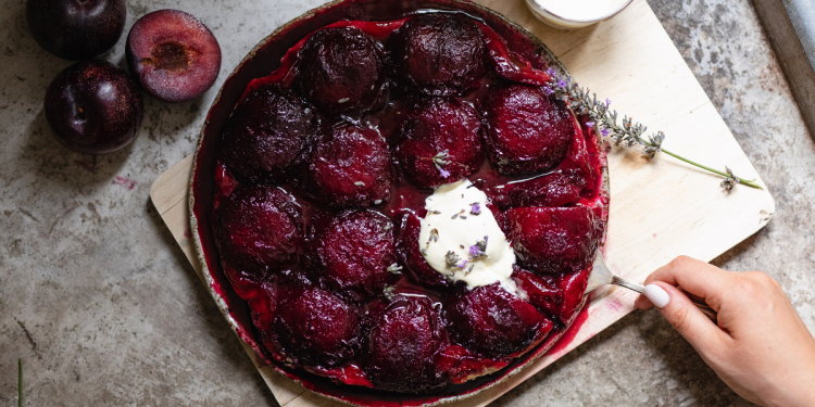 Plum Tarte Tatin Recipe. Image supplied