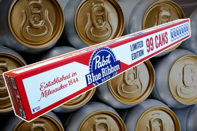 Pabst Blue Ribbon Beer. Limited edition 99 Cans. Image provided. Image edited by Rebecca Cherote