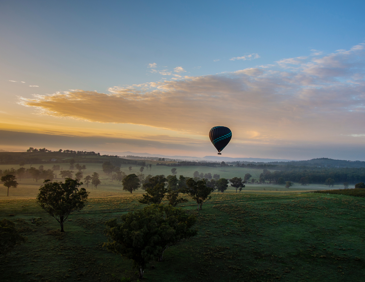 Hot Air Balloon in Hunter Valley. Image by Danielle Lochrin via Shutterstock.