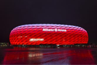 Allianz Arena Munich Germany. Photographed by Isaac Mok. Image via Shutterstock.
