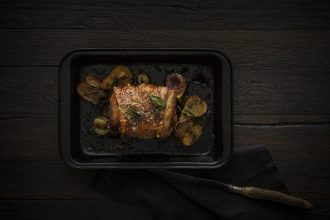 Otway Pork's Roast Pork with Glazed Pear, Apple and Fig Recipe. Image supplied