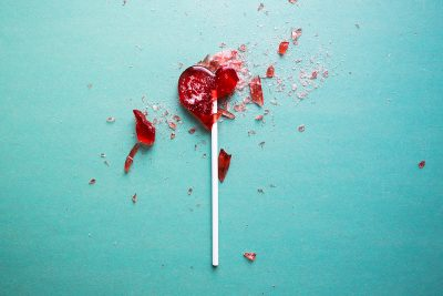 Broken heart lollipop. Image via shutterstock