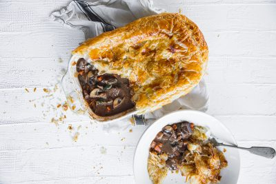 Manu Feildel's Steak and Bacon Pie. Image supplied.