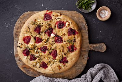 Queensland Strawberries Strawberry, Basil and Goats Cheese Foccacia Recipe. Image supplied