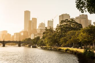 Melbourne City Yarra River Sunset