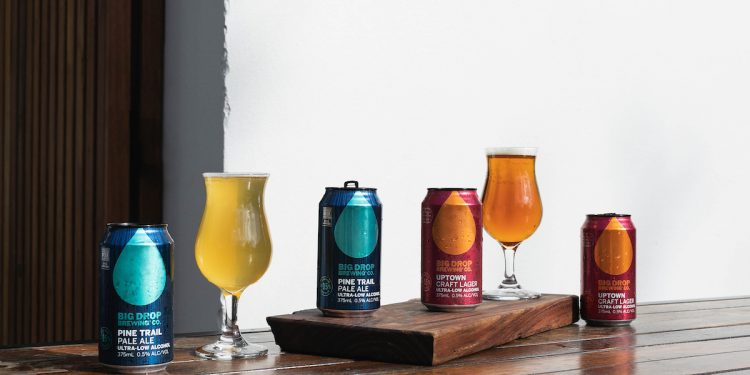 Big Drop Brewing Co. Alcohol-Free Pale Ale and Lager. Photographed by Catherine Black. Image supplied