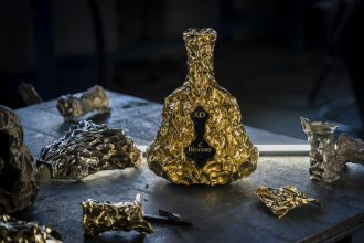 Hennessy X.O Frank Gehry Collaboration. 24 carat gold bottle. Image supplied