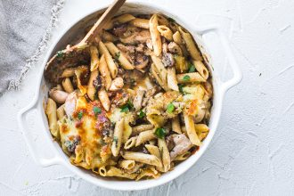 Chicken and Mushroom Pasta Bake. Image supplied