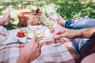 Picnic With White Wine. Sourced Via Shutterstock, Photographed by Soloviova Liudmyla.