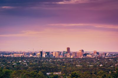 Adelaide city view from hills. Photographed by amophoto_au. Image via Shutterstock.