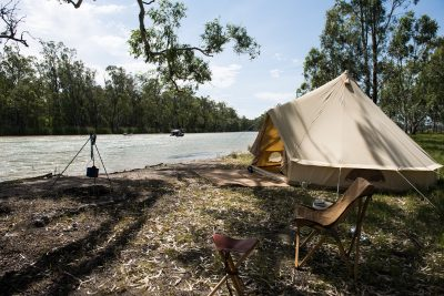 Camping at Barmah National Park, Murray River. Photographed by Emily Godfrey. Sourced via Visit Victoria