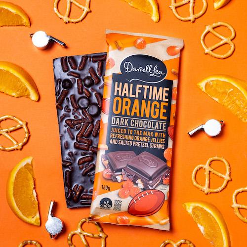 Darrell Lea Halftime Orange. Aussie Summer Party Range. Image supplied