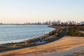 Point Ormond City Skyline Cycling Path Elwood. Photographed by Nils Versemann. Image via Shutterstock.