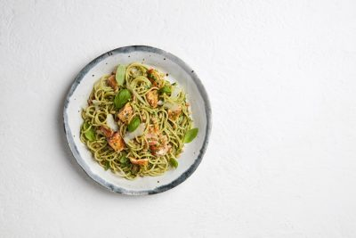 Sam Wood and Tassal Salmon Pesto Spaghetti Recipe. Image supplied