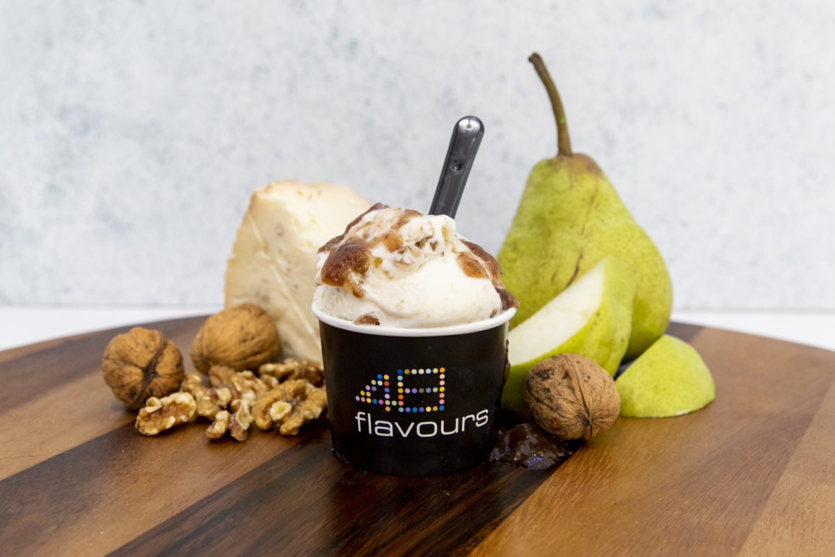 Pear Gorgonzola cheese-flavoured ice cream. Image: Supplied