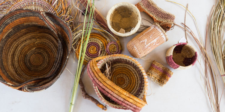 Traditional Aboriginal Weave Baskets. Photographed by Crystal Egan. Image via Shutterstock.