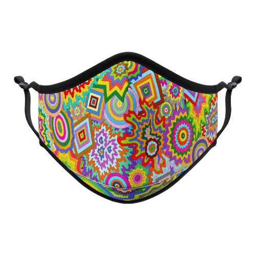 Vistaprint Reusable Face Mask. Artist Jen Stark Cosmic Shapes. Image supplied.