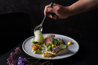 Jung Sung Korean – Red Snapper with gochujang crustaceans sauce, perilla foam, sweet corn textures. Image: Supplied