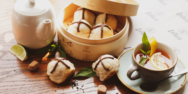 A Savoury Hot Cross Bun for Easter 2021 Yes Please! Lotus Dining Group Sydney. Hot Cross BBQ Pork Buns. Image supplied.