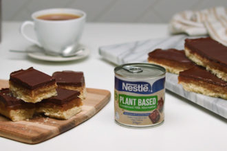 Dairy-Free and Vegan Classic Caramel Slice Recipe. Image supplied.