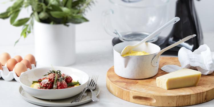 Winter Pork and Sage Meatballs with Polenta Recipe. Image supplied.